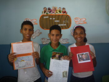 Dominican Students with our pen pal letters.
